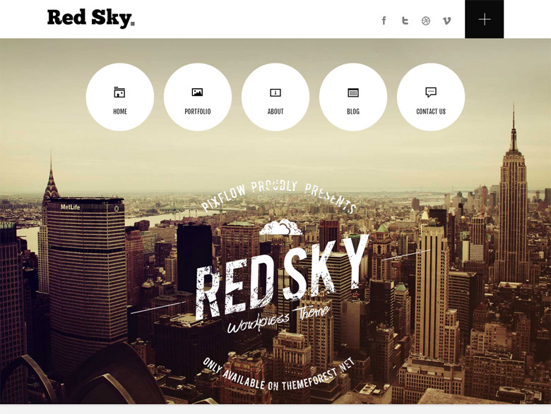 Responsive WordPress Portfolio Theme Red Sky